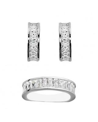Juego de anillo y pendientes oro blanco piedra 4 x 2 presion