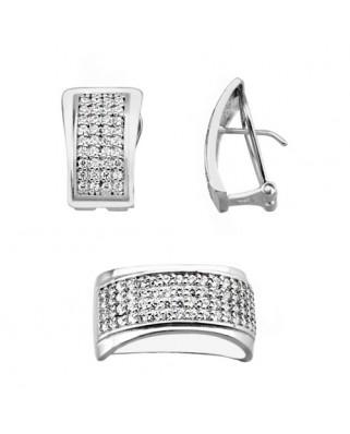 Juego de anillo y pendientes oro blanco rectangular circ p/omega