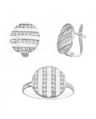 Juego de anillo y pendientes oro blanco redondo bandas cir p/cat