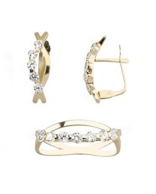 Juego de anillo y pendientes oro amarillo ojito 1 banda circ p/cat