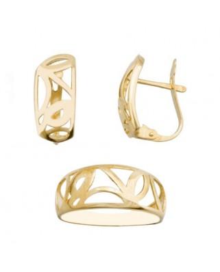 Juego de anillo y pendientes oro amarillo todo  p/catalan