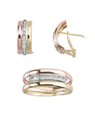 Juego de anillo y pendientes oro tricolor tric.cent.carril pied.p/