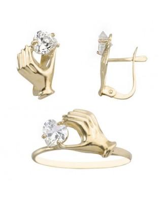 Juego de anillo y pendientes  mano estampada