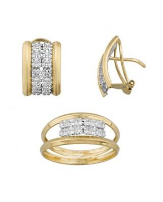 Juego de anillo y pendientes oro bicolor carres 2 x 2 p/ omega