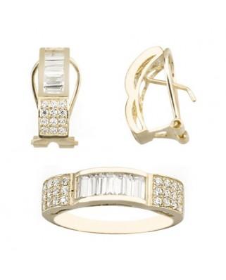 Juego de anillo y pendientes oro amarillo circon omega