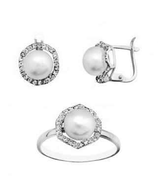 Juego de anillo y pendientes oro blanco c/perl 8 cultiv catal