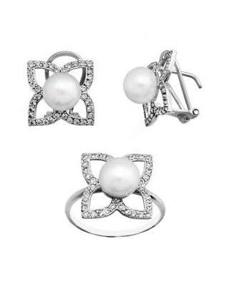 Juego de anillo y pendientes oro blanco p boton 8 culti ome