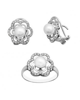 Juego de anillo y pendientes oro blanco dob filo p 6 culti omeg