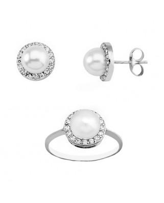 Juego de anillo y pendientes oro blanco orla perla boton 6 m cultiv