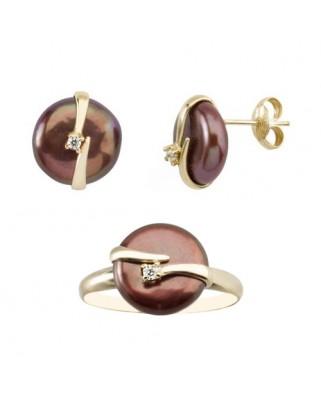 Juego de anillo y pendientes oro amarillo perla banda circ presion