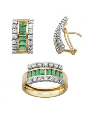 Juego de anillo y pendientes oro bicolor bareetas 4 x 1,5 p/omega