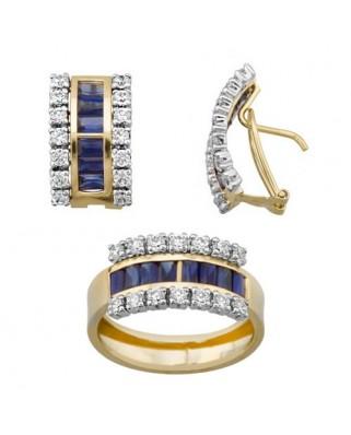 Juego de anillo y pendientes oro bicolor barretas 4 x 1,5 p omega