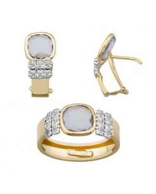 Juego de anillo y pendientes oro bicolor pied color ant 8 x 8 p/ome