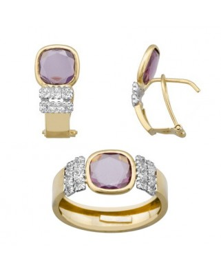 Juego de anillo y pendientes oro bicolor piedr color ant 8 x 8 p/omeg