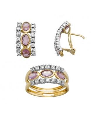 Juego de anillo y pendientes oro bicolor 3 ovales 6 x 4 omega