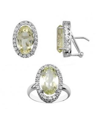 Juego de anillo y pendientes oro blanco orla 14 x 8 p/omega