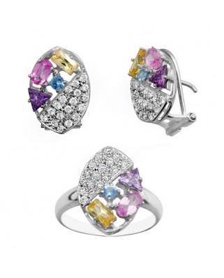 Juego de anillo y pendientes oro blanco mitad piedras color omeg