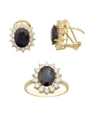Juego de anillo y pendientes oro amarillo cuajo piedra central 9x7