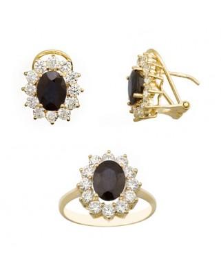 Juego de anillo y pendientes oro amarillo cuajo pied.cent.8x6