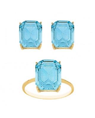Juego de anillo y pendientes oro amarillo pied.color 12x10 c/m