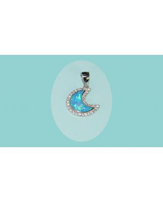 Colgante plata luna opalo azul circonitas