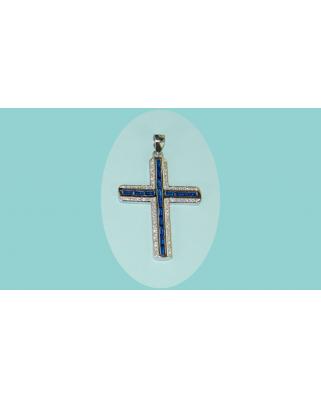 colgante cruz plata piedras azul circonita rodio