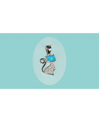 Colgante plata gato opalo azul circonitas