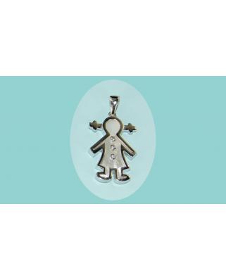 Colgante plata niña nacar circonitas