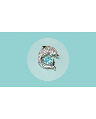 Colgante plata delfin circonitas aguamarina